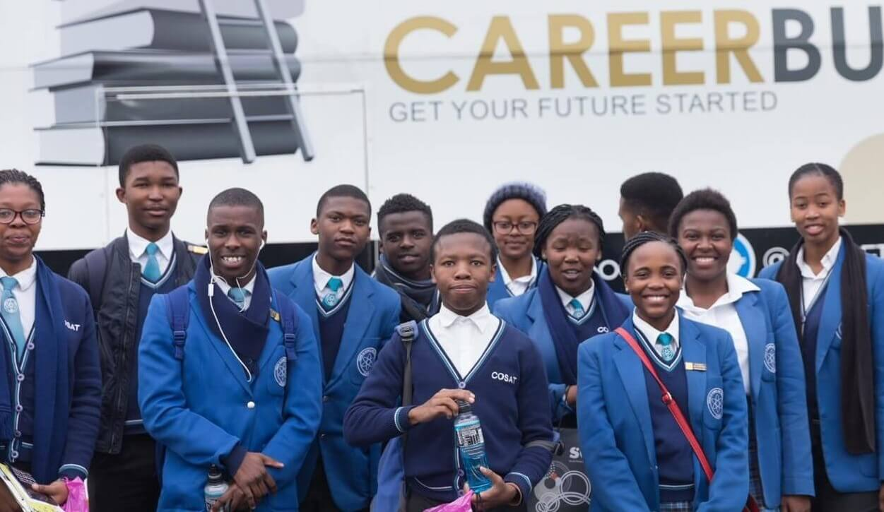 Learners outside merseta career bus